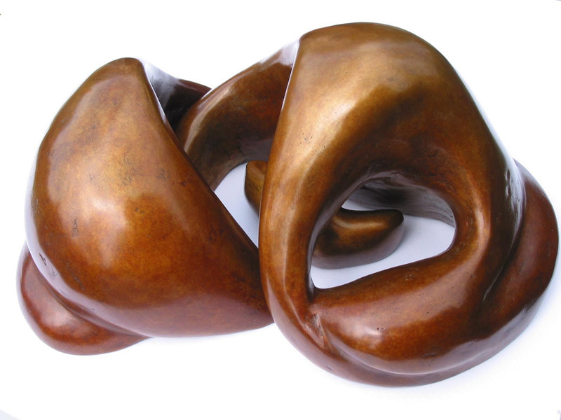 3 interlocking piece bronze sculpture of a Mother and Firstborn Baby