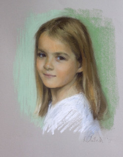 pastel portrait of a young girl
