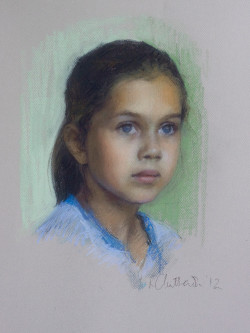 Head and shoulders pastel portrait of young girl
