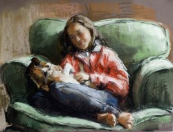 pastel sketch of girl with her dog