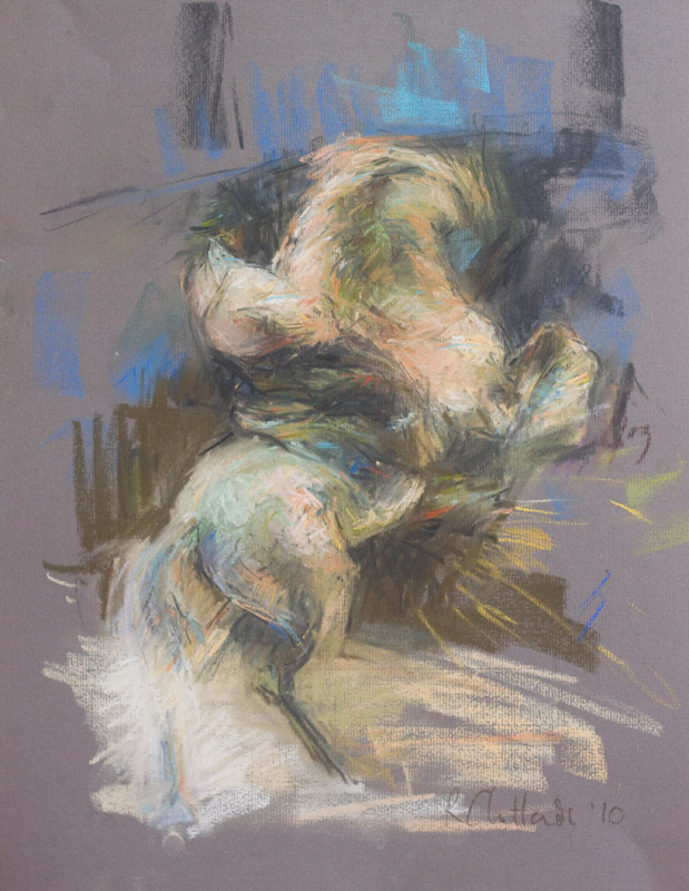Pastel drawing on paper of rearing horse