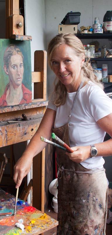 Portrait Artist, Rosanna Chittenden at work in her studio