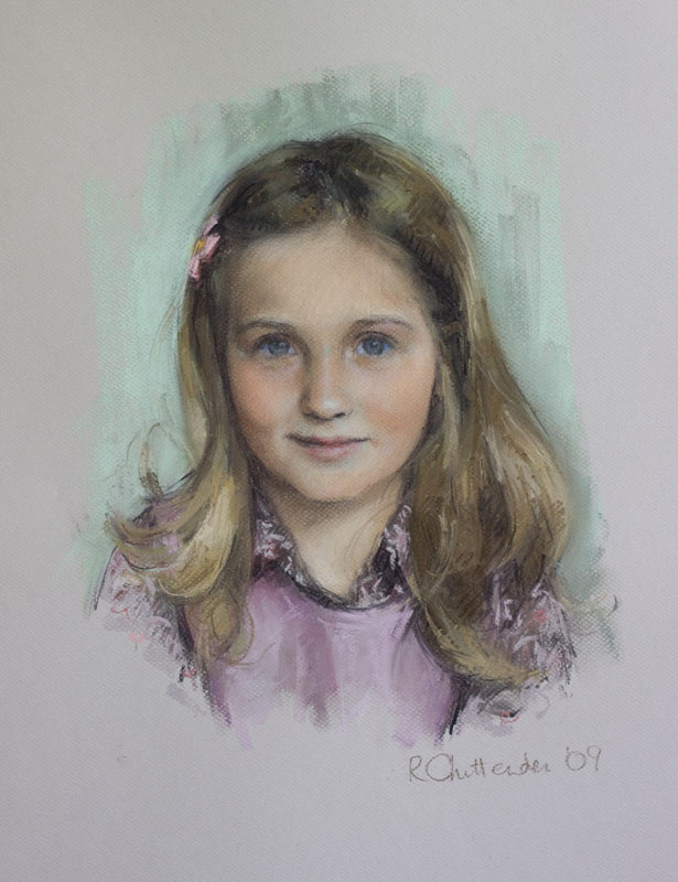 Child Portrait - pastel head and shoulders portrait of young girl