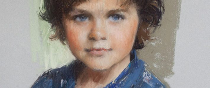 Pastel Portrait of Young Boy