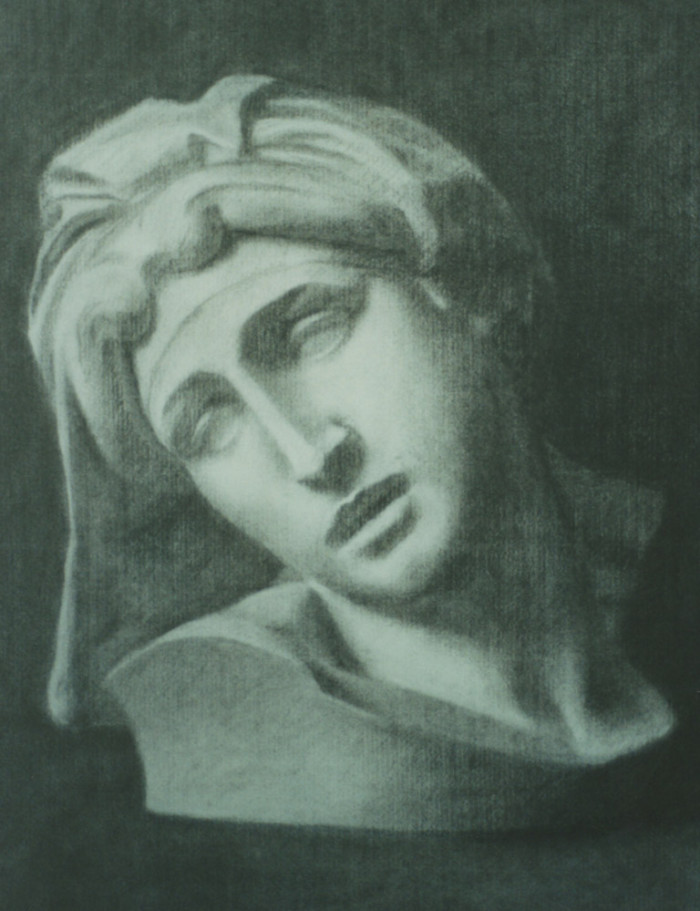 charcoal drawing of a plaster cast on paper