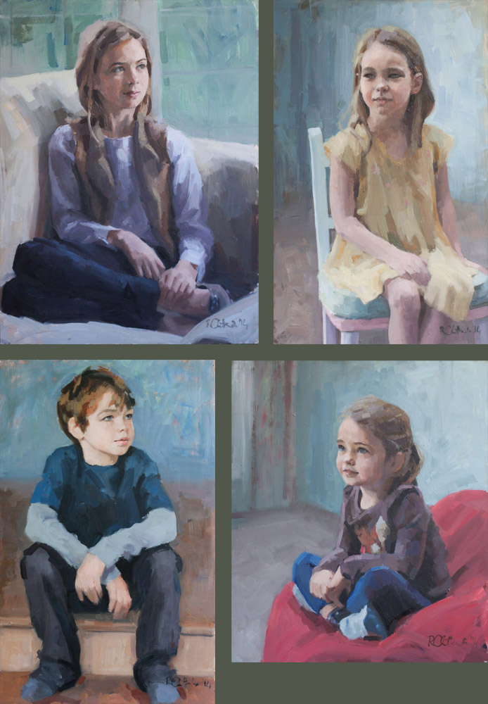 four oil portraits of children from one family