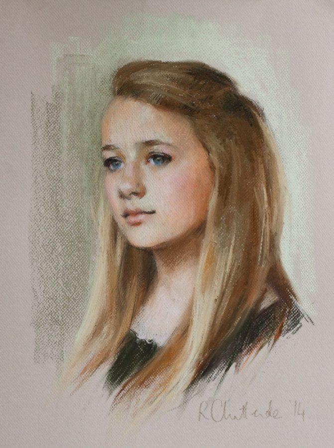 Pastel portrait of a teenage girl