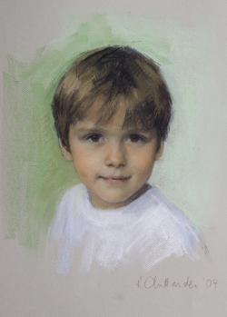 pastel portrait of a young boy