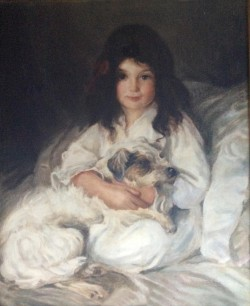 Early 20th Century portrait of young girl with her dog by Edmond Brock