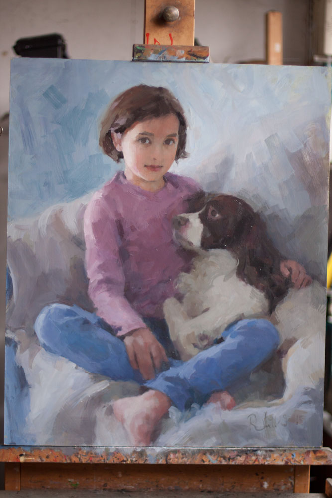oil portrait of child and dog - work in progress