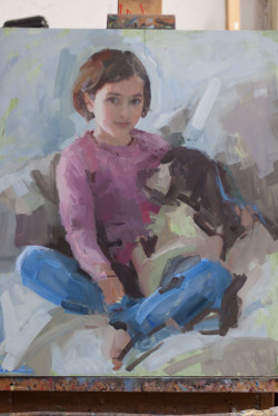 work in progress of oil portrait of young girl and her dog - day 3