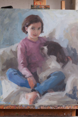 Oil portrait of a young girl and her dog - work in progress - day 8