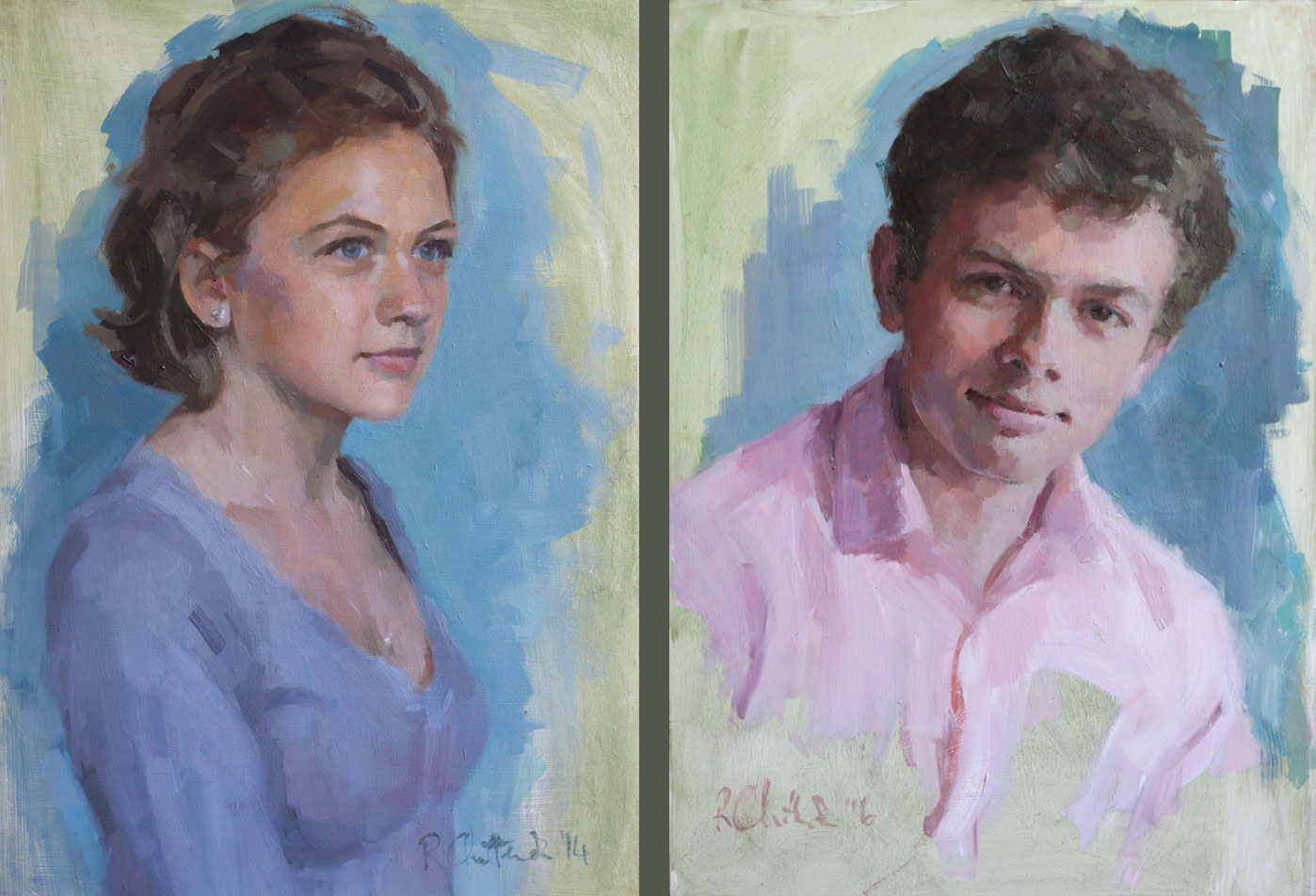 Oil portraits of brother and sister
