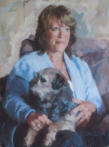 Oil portrait of a lady with her dog