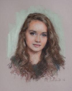 A pastel portrait of a beautiful teenage girl