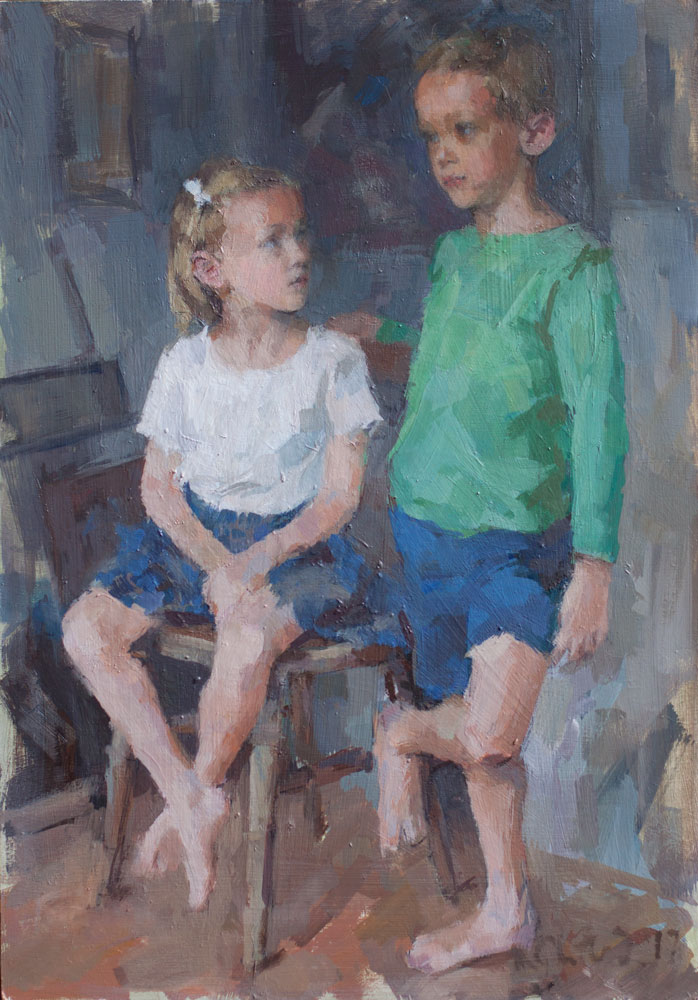 oil sketch of 6 year old twins