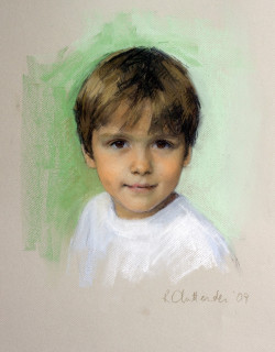 Pastel portrait of a young boy