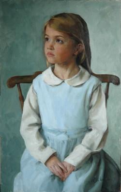 Child Portrait - 3/4 length. Oil on board