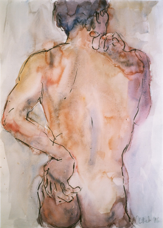 Giclee print of male torso in watercolour