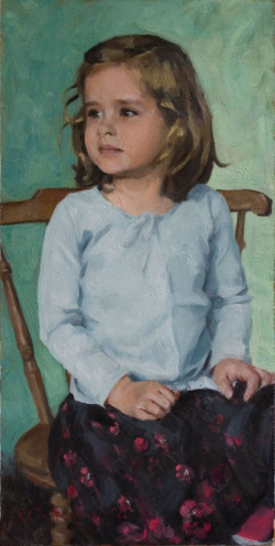 Child Portrait of a Young Girl: Oil on Board