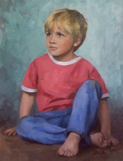 Child Portrait - young boy; oil on board