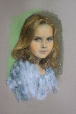 child portrait: pastel head and shoulders of a young girl