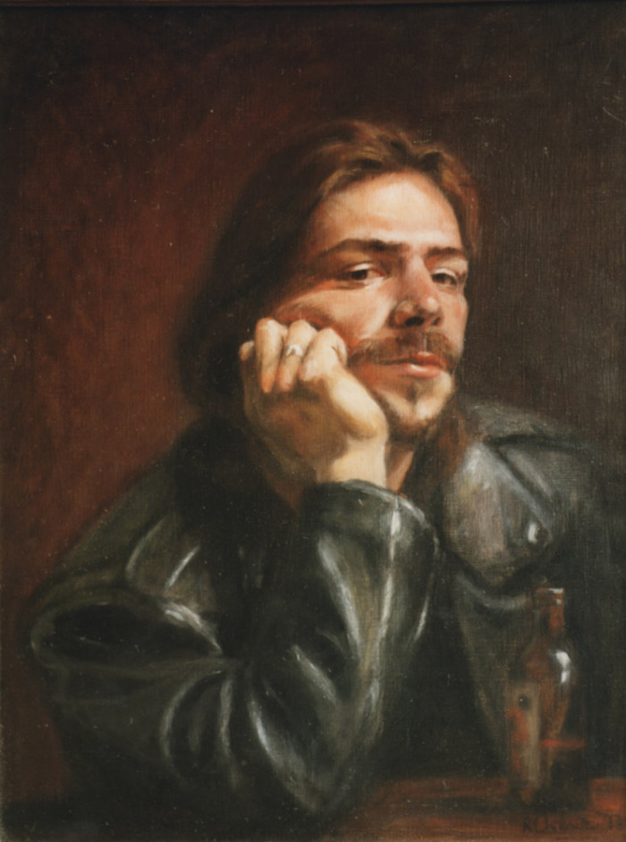 oil portrait of a man in a leather jacket - oil on canvas
