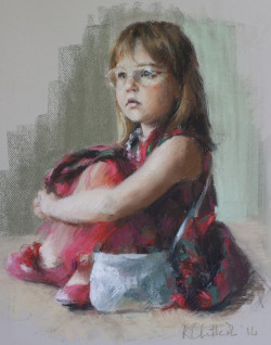 pastel portrait of a young girl with attitude