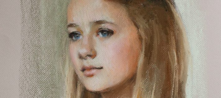Pastel portrait of a teenage girl