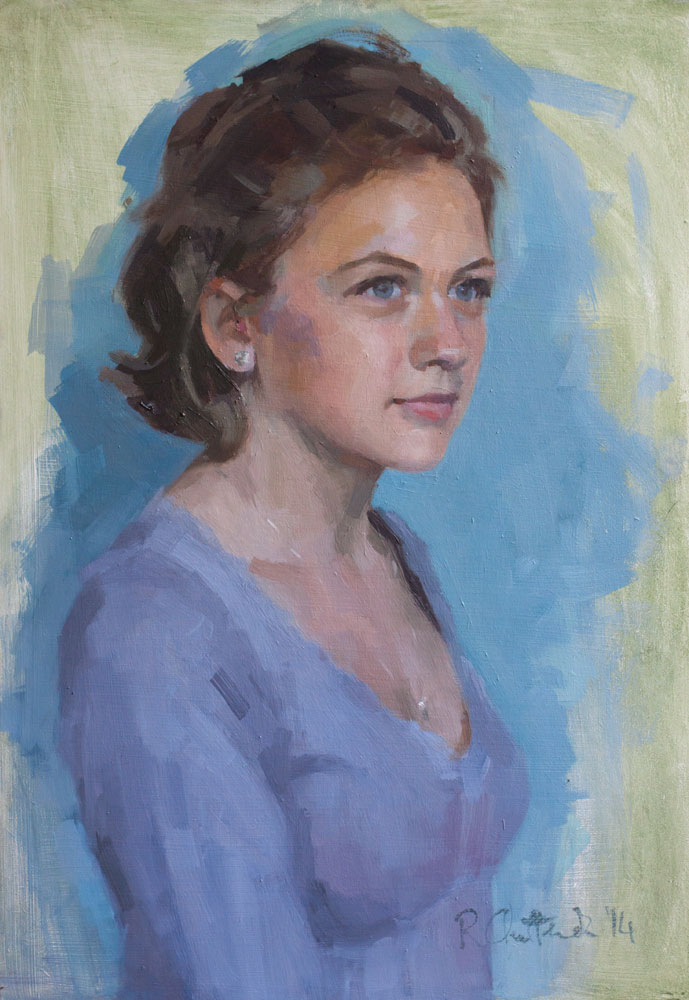 Head and shoulders oil portrait of a young woman