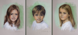 Pastel portraits of the family