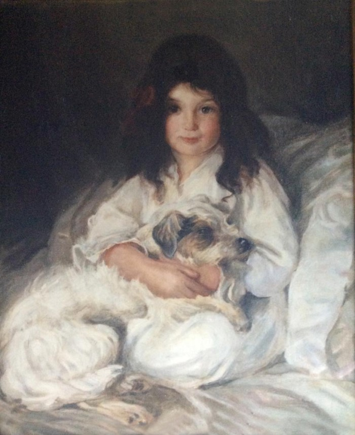 Portrait of young girl with dog painted early 1900s by Edmond Brock