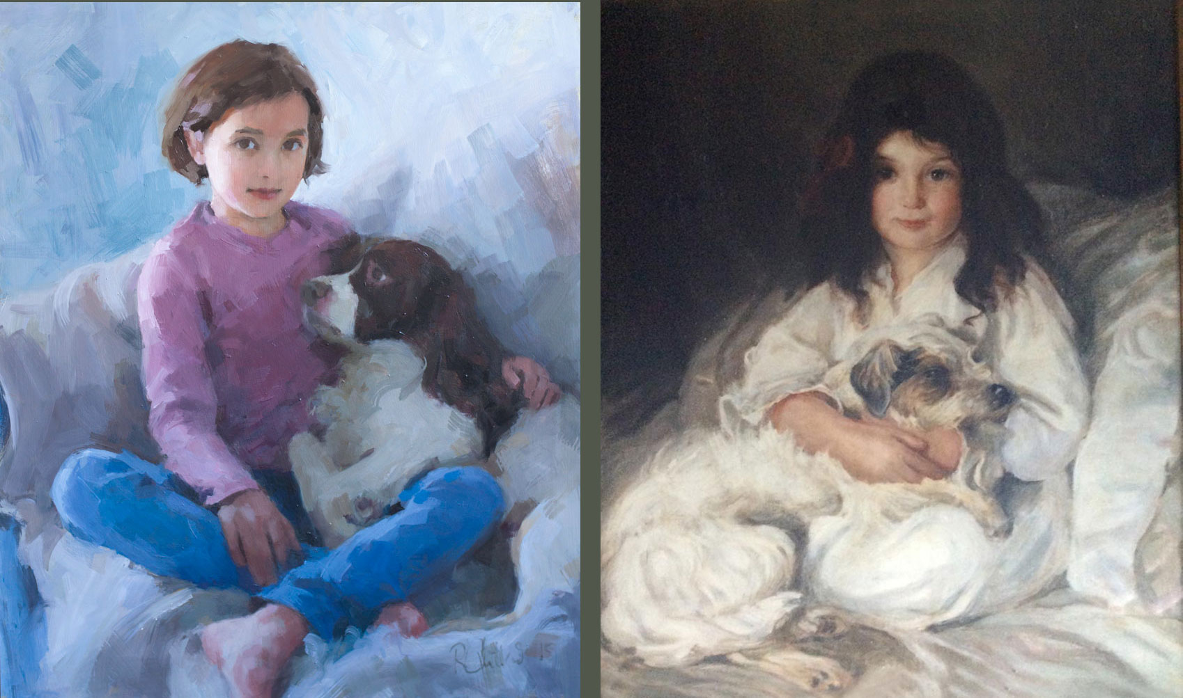 portraits of the two young girls and their dogs 100 years apart