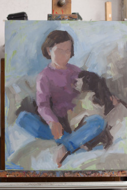 Oil portrait of a young girl and her dog - work in progress - day 1