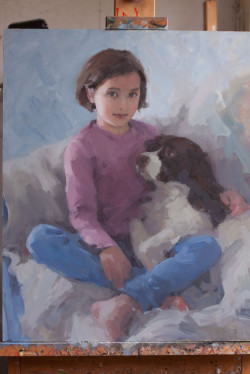 Oil portrait of a young girl and her dog - work in progress - day 12