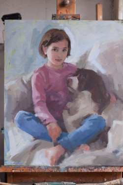 Oil portrait of a young girl and her dog - work in progress - day 5