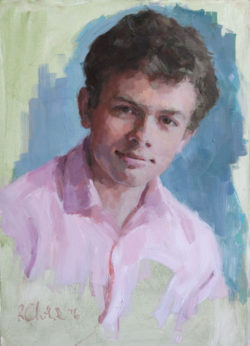 Oil head and shoulders portrait of a young man