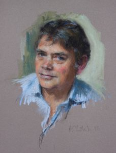 informal pastel portrait of a military historian