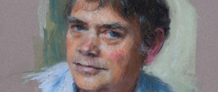 informal pastel portrait of a military historian