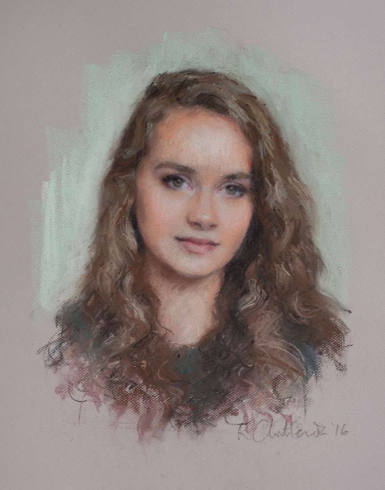 A pastel portrait of a beautiful teenage girl
