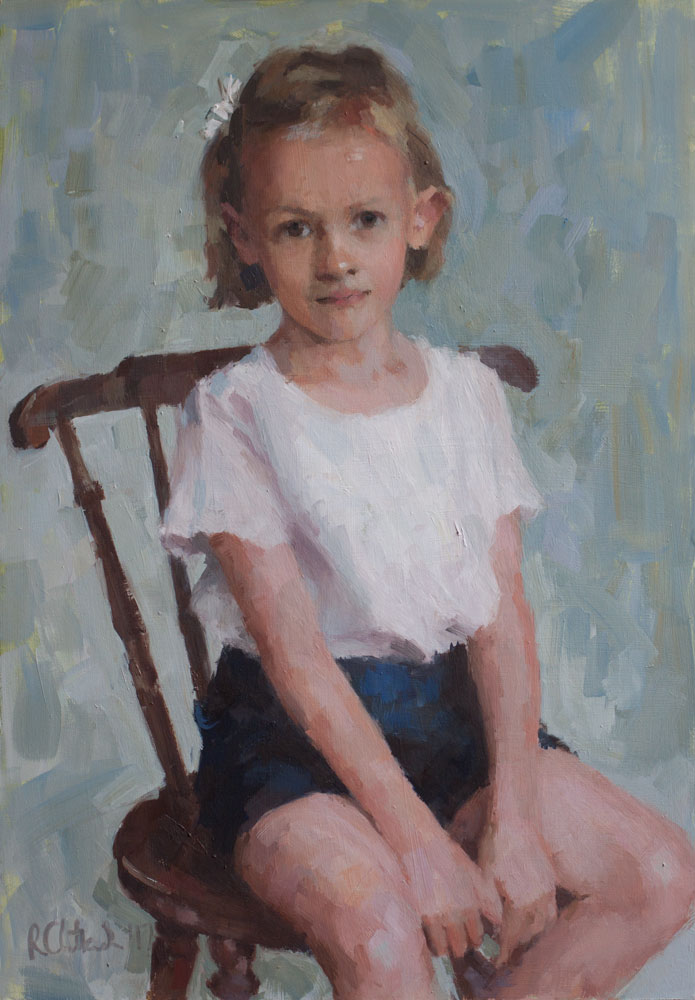 Oil portrait of a young girl