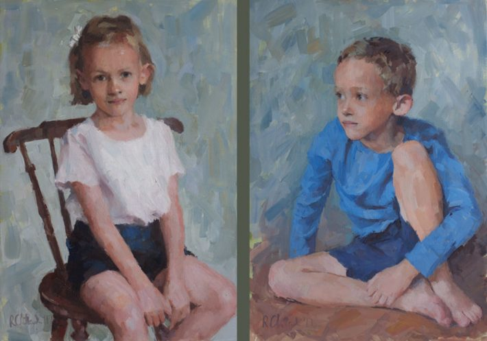 Oil portraits of twins displayed side by side
