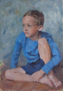 oil portrait of a young boy - one half of a twin