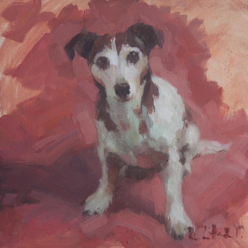 portrait of the artist's jack russell terrier, oil on board