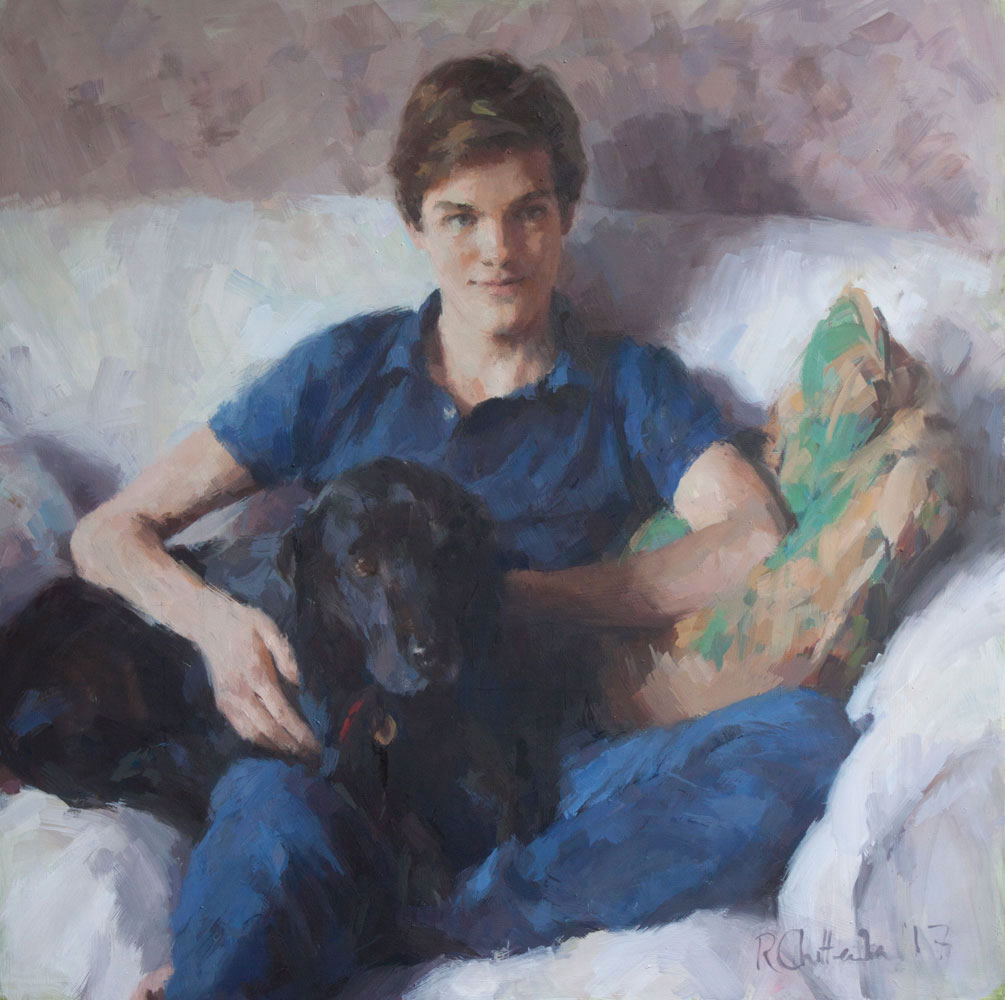 Oil portrait of a teenage boy with black labrador