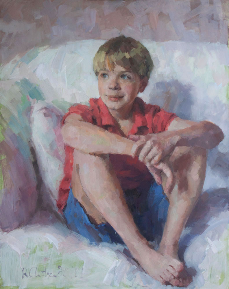 Oil portrait of a young chorister (off-duty)