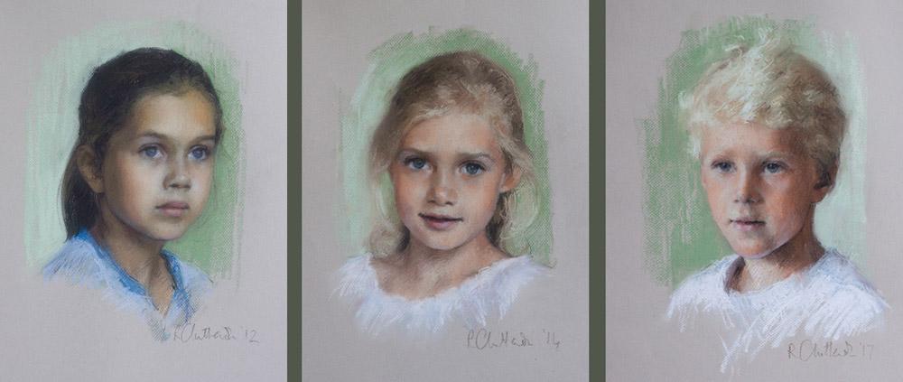 pastel portraits of 3 siblings