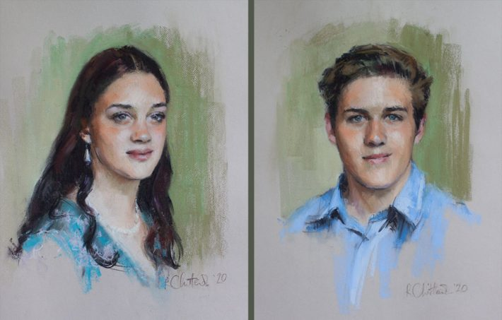 portraits of siblings
