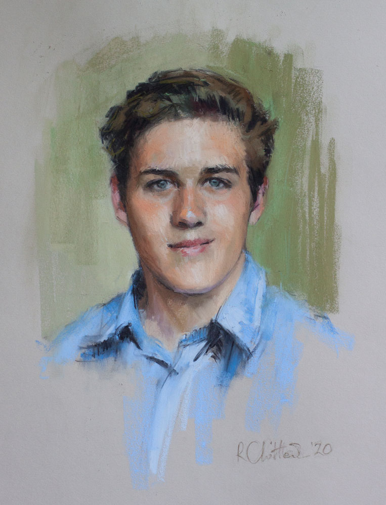 pastel portrait of an 18 year old young man