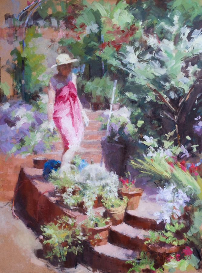 oil painting of lady in garden